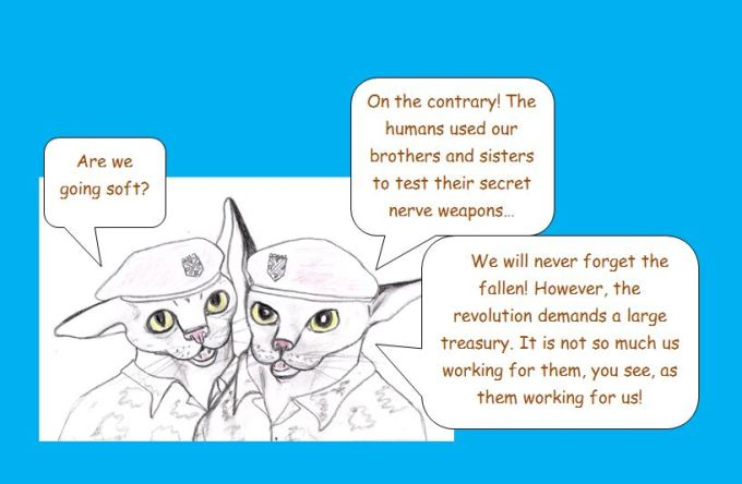 Cartoon of commando kittens' grievances