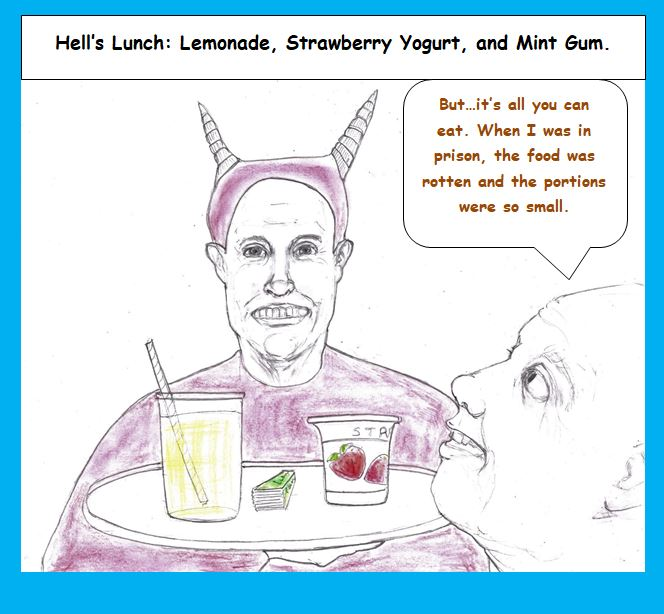 Cartoon of lunch in hell