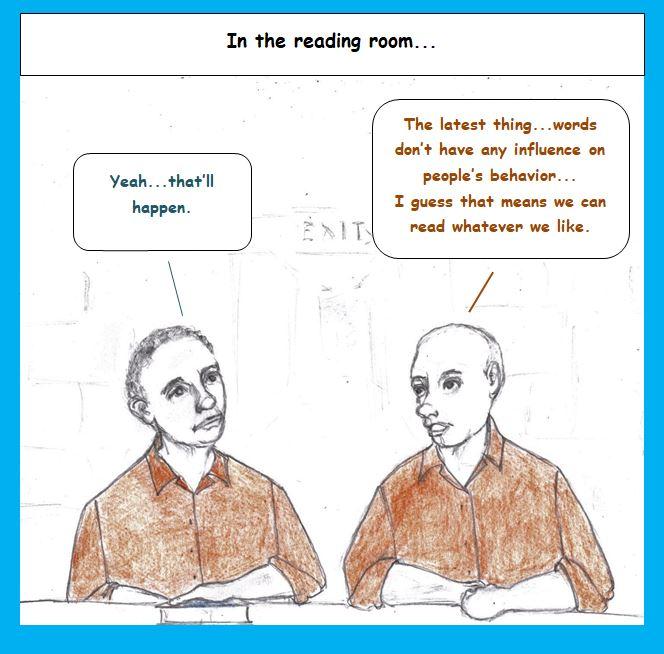 Cartoon of prisoners discussing books