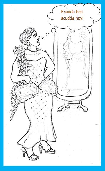Cartoon of fifties' cross-dresser