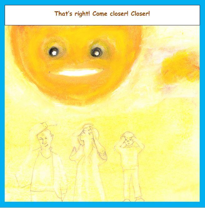 Cartoon of sun very close