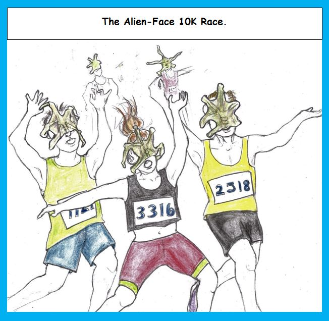 Cartoon of people running with aliens attached