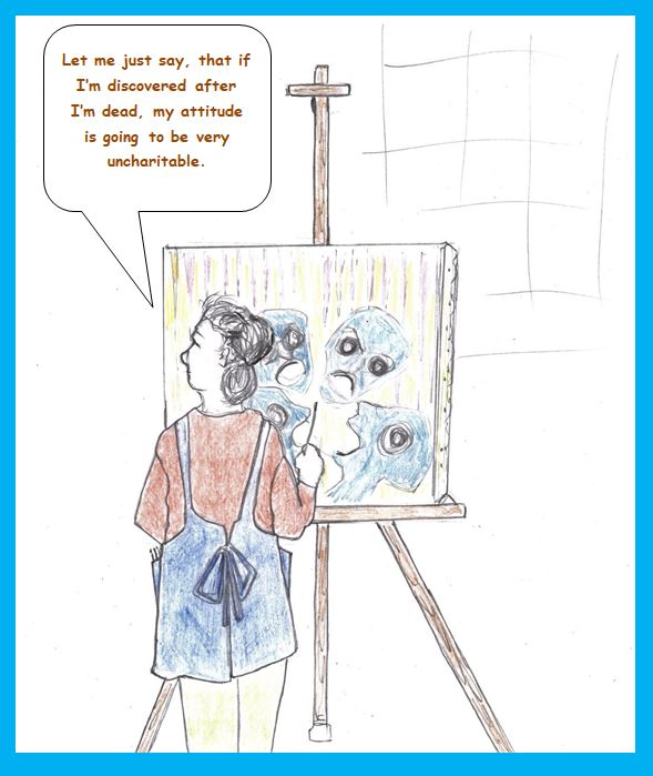 Cartoon of woman at easel