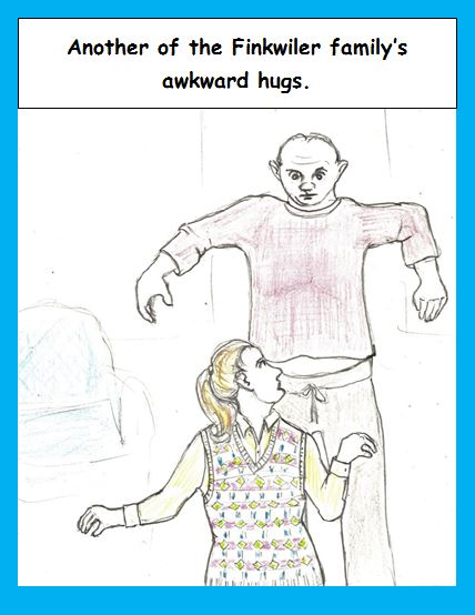 Cartoon of awkward hug
