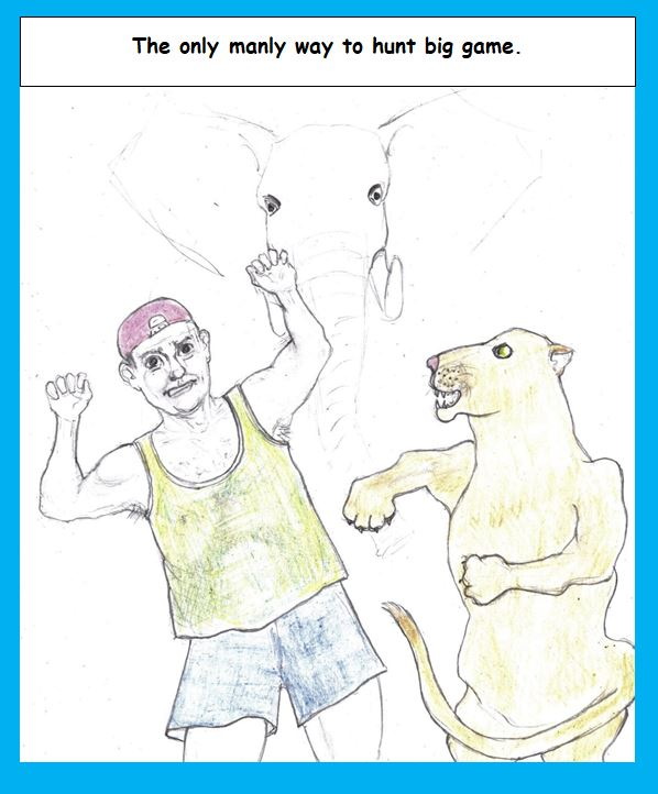 Cartoon of man fighting lion