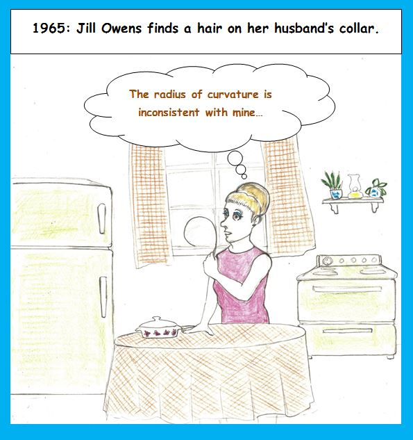 Cartoon of woman finding hair