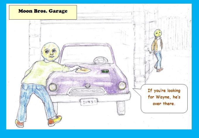 Cartoon of garage run by moonheads