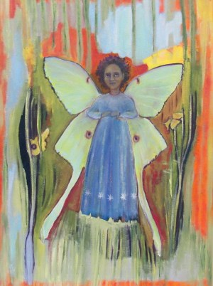Oil painting of Luna moth with female figure