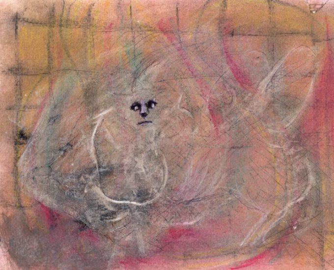 Pastel and ink drawing of angry face and rabbit