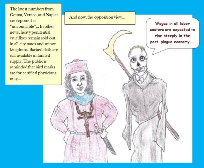 Cartoon of plague figure and medieval newscast