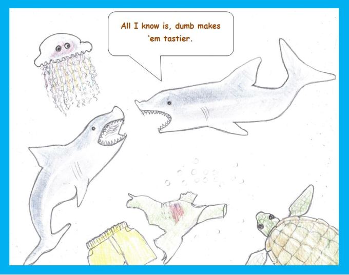 Cartoon of sharks and victim
