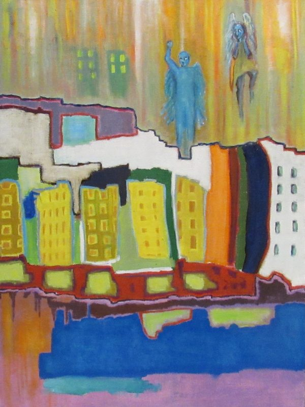 Oil painting of city and angels
