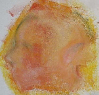 Oil and pastel drawing of two flame-tinted faces