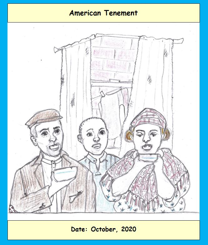 Cartoon of family in tenement
