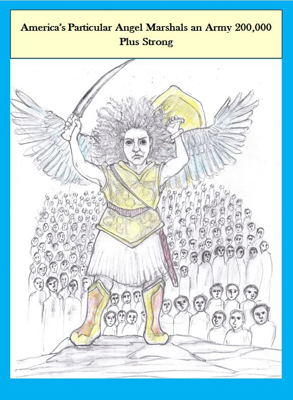 Cartoon of angel with Covid army