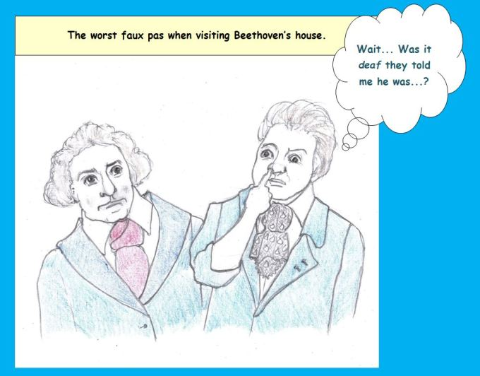 Cartoon of Beethoven and visitor