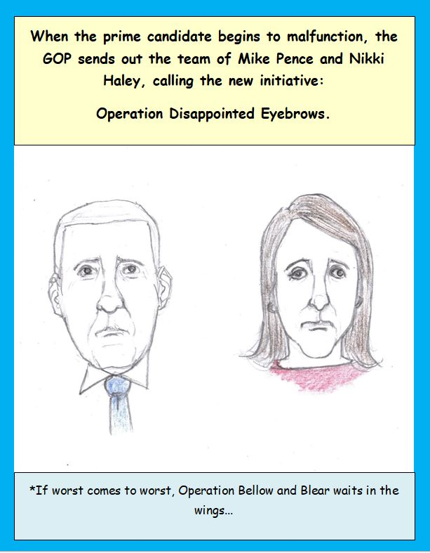 Cartoon of Mike Pence and Nikki Haley