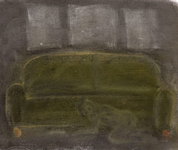 Pastel drawing of person searching under sofa