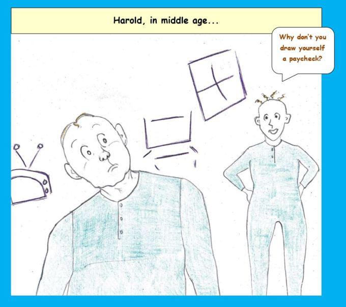 Cartoon of Harold of the purple crayon