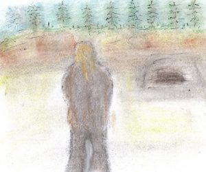 Pastel and ink drawing of figure before landscape