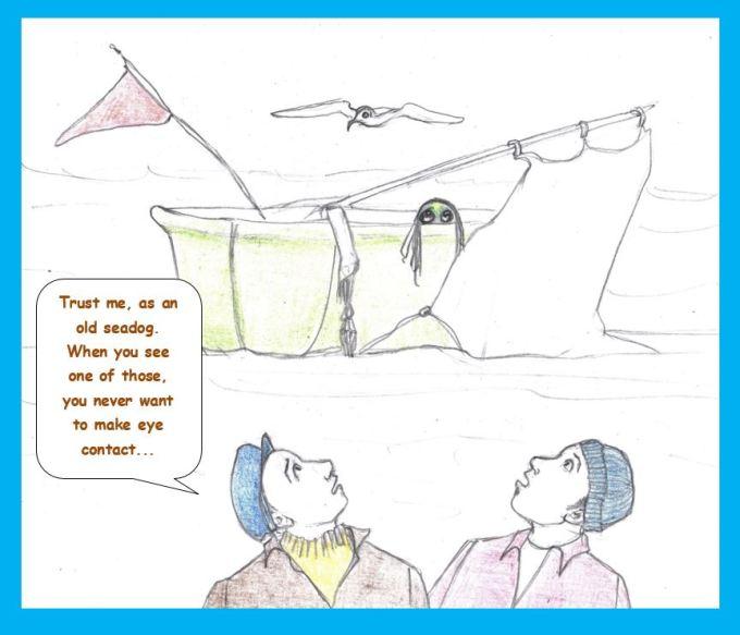 Cartoon of sailors encountering sea ghoul