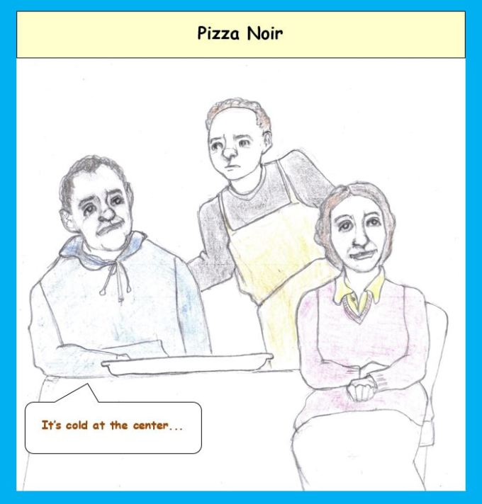 Cartoon of couple at pizza parlor