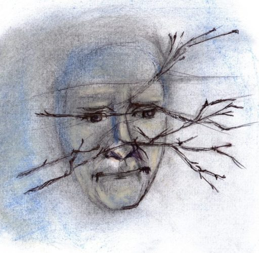 Pastel and ink drawing of face behind thorns