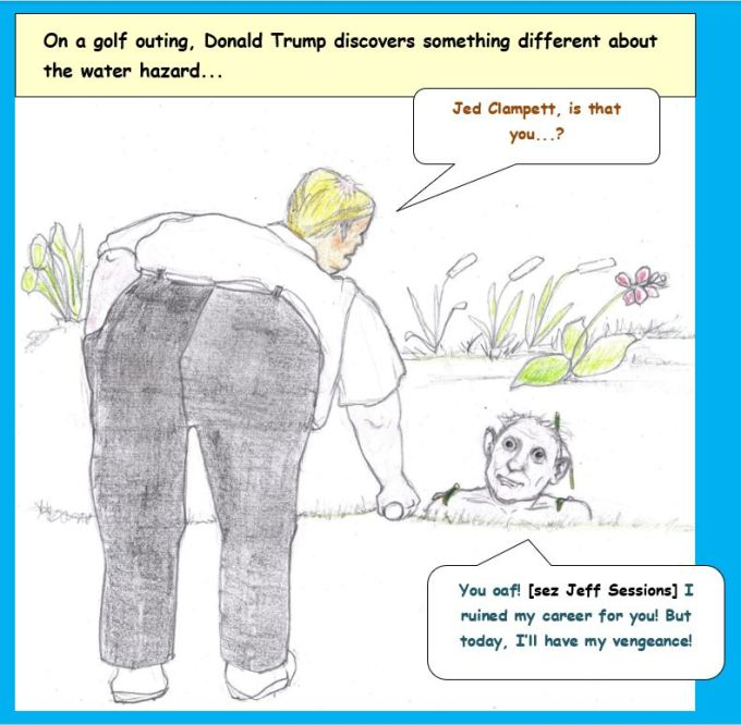 Cartoon of Trump golfing and being confronted by Jeff Sessions