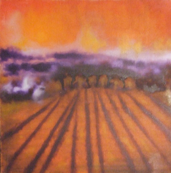 Oil painting of orange landscape
