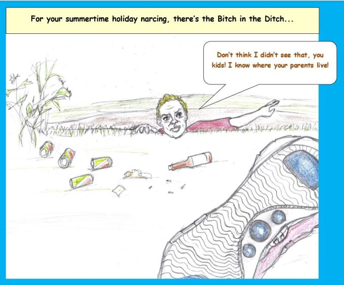 Cartoon of woman in ditch yelling at kids