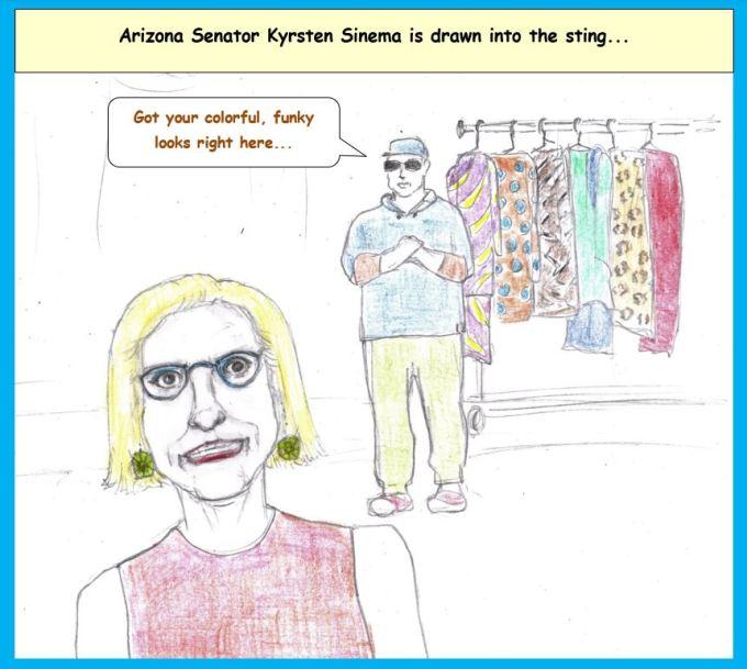 Cartoon of Senator Kyrsten Sinema being pitched to by a salesman