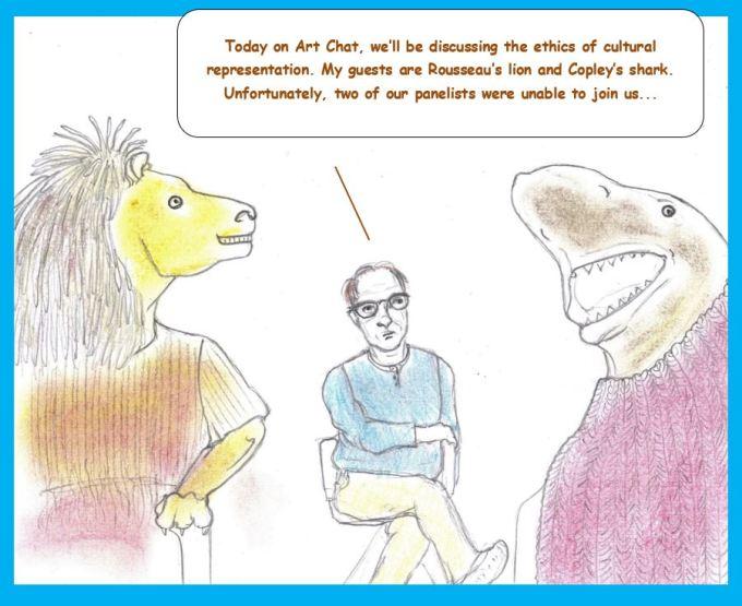 Cartoon of lion and shark on talk show
