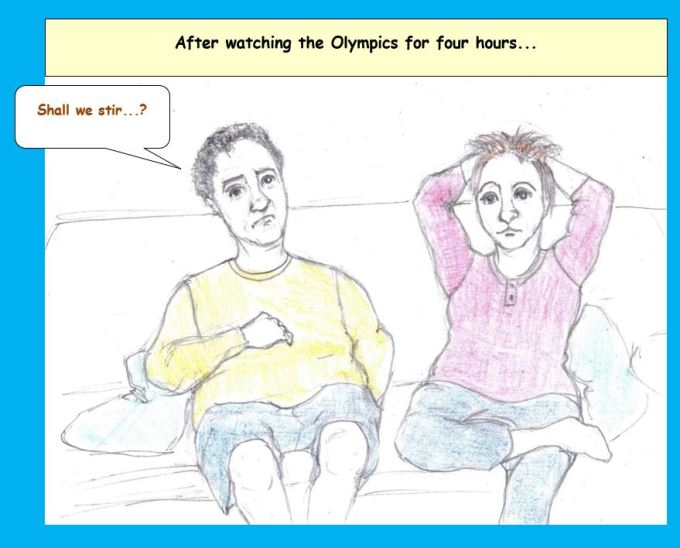 Cartoon of couple watching Olympics on sofa