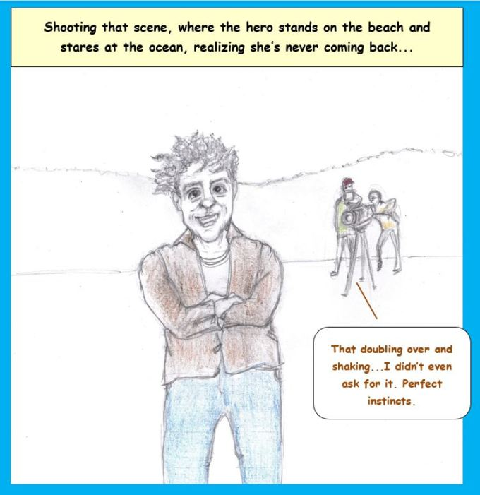 Cartoon of movie scene at beach