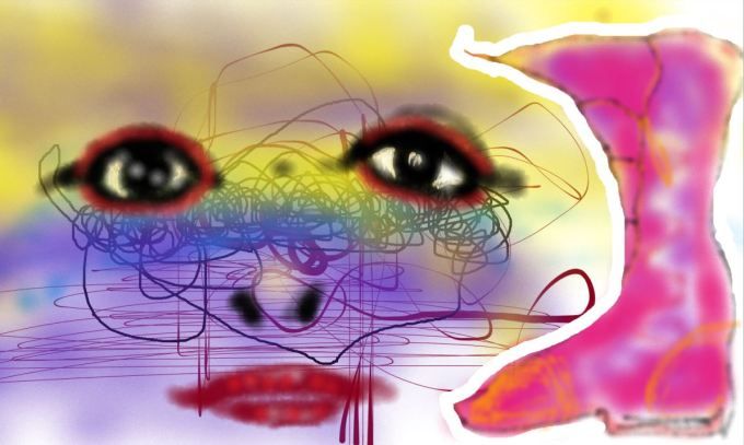 Digital art of face and boot