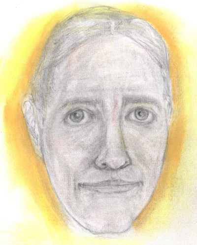 Pastel and pencil drawing of man's face with rueful smile
