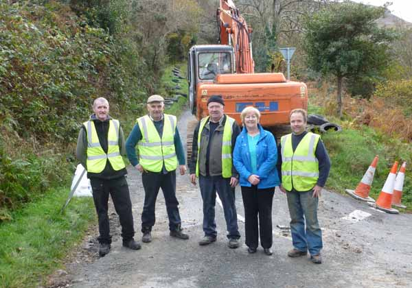 Pictured on Mamore Gap during the week were Michael McCarron, Michael Devlin (overseer), Mick McConalogue, Cllr Rena Donaghey and Bernard Devlin.