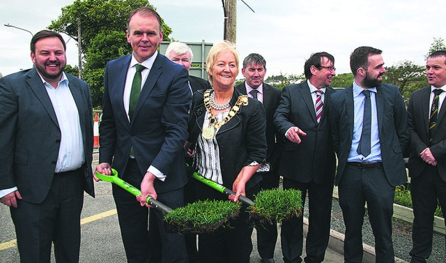 A bunch of sods? Minister of State Joe McHugh with Inishowen Mayor Rena Donaghey, Senator Padraig MacLochlainn, Cllr Nicholas Crossan, Cllr Paul Canning, Cllr Albert Doherty, Cllr Jack Murray and Cllr Martin McDermott at the Cockhill Bridge sod-turning ceremony.
