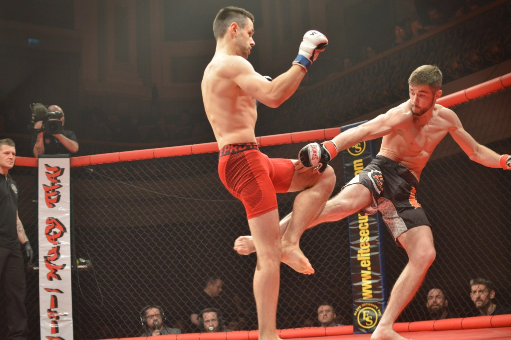Moville's Darragh Kelly (right) in action at Ulster Hall in Belfast. Photo: Steven Cuthbertson, Bloody Shamrock Media