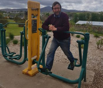 Cllr Albert Doherty doing a spot of exercise at Carn's award-winning Barrack Hill Park.