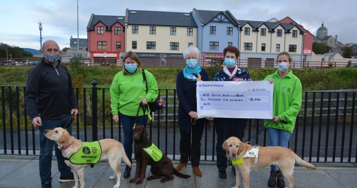 Nuala Lynch, third from left, and Mary Doherty presenting a cheque to Buncrana woman Jennifer Doherty, who is a member of the Donegal branch of the Irish Guide Dogs for the Blind. Also included are representatives of the charity in Donegal, Eamon and Michelle Magee.