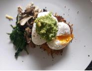 Potato rosti, baby spinach, mushrooms, avo & poached eggs.