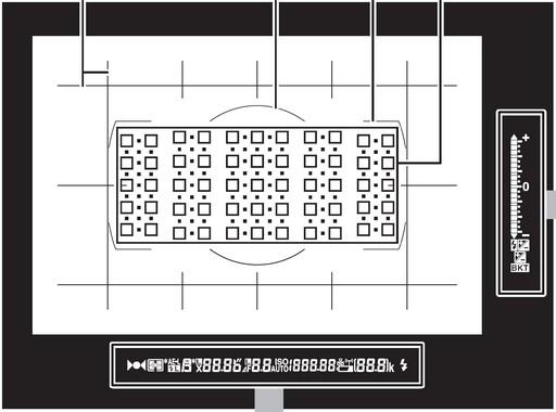 Illustration des incrustations du viseur du Nikon D5