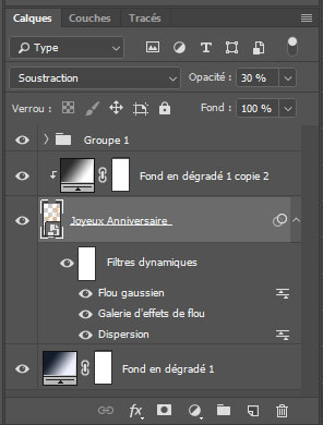 Palette des calques dans Photoshop CC