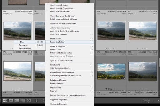 Accessibilité à l'outil de fusion HDR dans Lightroom via le menu contextuel