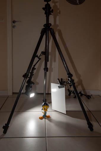 Utilisation des jambes d'un trépied comme support pour construire rapidement un mini studio pour la macro photographie.