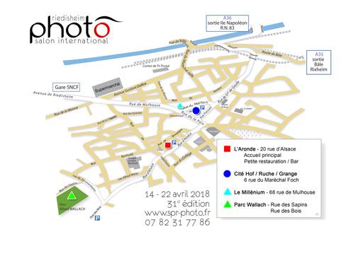 Plan recensant les lieux d'exposition