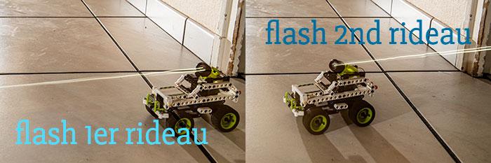 Différence de rendu entre déclenchement du flash au 1er et 2nd rideau