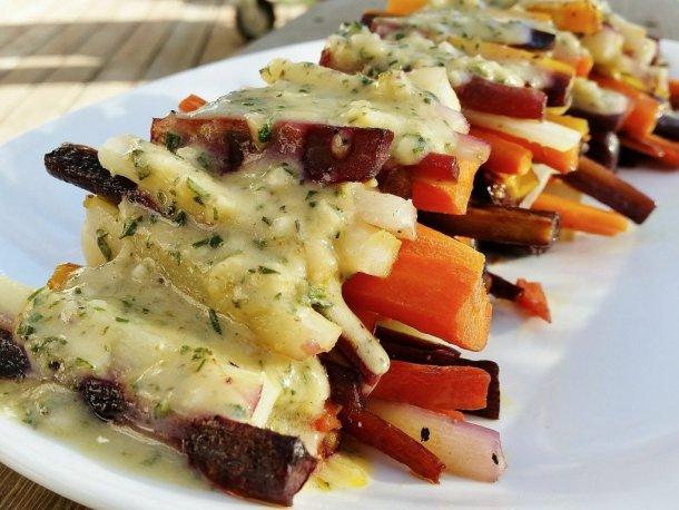 Roasted Rainbow Carrots with Garlic Herb Vinaigrette