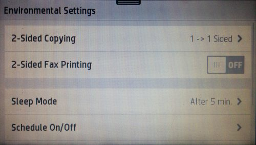 The Environmental Settings screen of an HP Officejet Pro 8720
